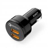 Aukey Cc T8 2port Araç Şarj Hızlı Şarj Qc 3.0 Micro Usb Cable 1mt