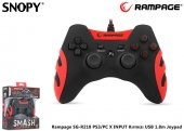 Snopy Rampage Sg R218 Ps3 Pc X Input Kırmızı Usb 1.8m Joypad