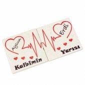 Sevgiliye Hediye İsme Özel Kalp Temalı 2li Taş Bardak Altlığı