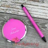 Kişiye Özel Pembe Makyaj Aynası Ve Kalem Seti Öğretmenler Günü