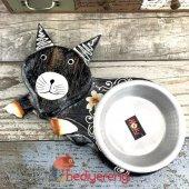 Kedi Tasarımlı Ahşap Kedi Mama Kabı