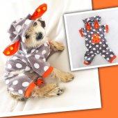 Orange Bunny Dots Kulaklı Tulum By Kemique Köpek Kıyafeti