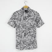 Erkek Gömlek Kısa Kollu Simetri Çizgiler Baskılı 2018