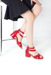 Nedda Kırmızı Bilekten Çift Kemerli Topuklu Bayan Ayakkabı