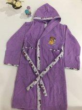 Kapşonlu Ayıcık Figürlü Çocuk Bornozu Mor Renk