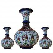 Oğuz Çini Üçlü Tombul Vazo