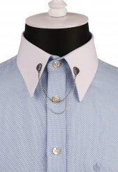 Taşlı Zincirli Füme Renk Gömlek Yaka İğnesi Gı137