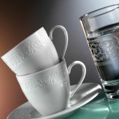 Kütahya Porselen Açelya 18 Parça Bardaklı Kahve Fincan Takımı