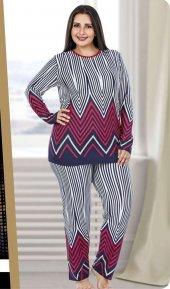 Lady Çizgili Büyük Beden Pijama Takımı