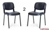 Carvensa Form Sandalye 2 Adet Suni Deri Siyah 2 Li