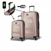 My Valice Smart Bag Exclusive Usb Şarj Girişli 2li Valiz Seti (Kabin Ve Büyük) Rose