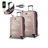 My Valice Smart Bag Exclusive Usb Şarj Girişli 2li Valiz Seti (Büyük Ve Orta) Rose