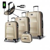 My Valice Smart Bag Exclusive Usb Şarj Girişli 4lü Valiz Seti (Travel Set) Gold