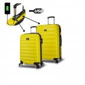 My Valice Smart Bag Colors Usb Şarj Girişli 2li Valiz Seti (Kabin Ve Orta) Sarı
