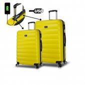 My Valice Smart Bag Colors Usb Şarj Girişli 2li Valiz Seti (Büyük Ve Orta) Sarı