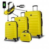 My Valice Smart Bag Colors Usb Şarj Girişli 4lü Valiz Seti (Travel Set) Sarı