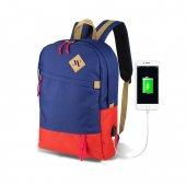 My Valice Smart Bag Freedom Usb Şarj Girişli Akıllı Sırt Çantası Lacivert Kırmızı