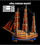 Ahşap Korsan Ağaç Yelkenli Gemi Maketi