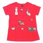 Cıgıt Kids Tavşan Çiçek Nakışlı Kısa Kol Çocuk Tişörtü Nar