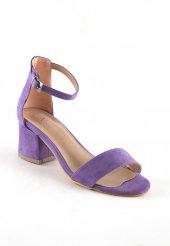 Ceria Lila Süet Tek Bant Topuklu Bayan Ayakkabı