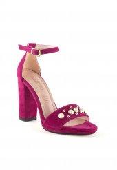 Fabia Fuşya Süet Boncuk İşlemeli Topuklu Bayan Ayakkabı