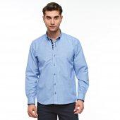 çizgili Uzun Kol Mavi Erkek Gömlek