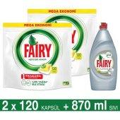 Fairy Hepsi Bir Arada Bulaşık Makinesi Deterjanı Kapsülü Limon Kokulu 120 Yıkama 2&#039 Li Paket + Platinum Sıvı Bulaşık Deterjanı Limon 870 Ml