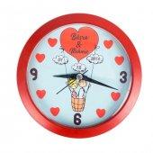 Sevgiliye Hediye İsme Özel Balonlu Çift Dekoratif Duvar Saati