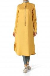 Sarı Yarım Patlı Sık Düğmeli Tunik 50351