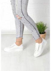 Beyaz Cilt Bağcıklı Bayan Spor Ayakkabı Günlük Bayan Spor Ayakkabısı