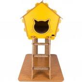 Patihomes Merdivenli Tırmalamalı Kedi Evi 74x65x40 Cm