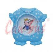 24lü Bebek Tulumu Şeklinde Ayaklı Mini Fotoğraf Çerçevesi Mavi