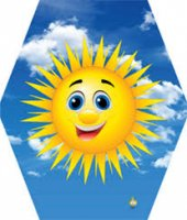Gülen Güneş Desenli Altıgen Çıtalı Katlanır 80x75 Cm Uçurtma 50 Mt Uçurtma İpi Dahil