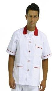 Komi Ceketi Garson Aşçı İş Elbiseleri Yaka Ve Omuzu Kırmızı