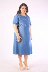 Büyük Beden Sıfır Yaka İnci Detaylı Kot Elbise 3801 Orjinal