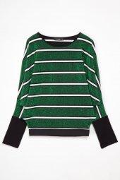 Lone Yarasa Kollu Yeşil Bluz