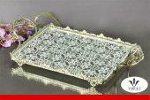 Dekoratif Dikdörtgen Gümüş Cam Tepsi 35 Cm