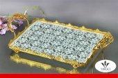 Dekoratif Dikdörtgen Altın Cam Tepsi 35 Cm