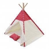 Oyun Çadırı %100 Pamuklu Kumaş Kızılderili Çadırı, Oyun Evi (Kod17yıldızlıkırmızı)