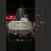55x65cm Cam Taşlı İşlemeli Yuvarlak Çember 3 Lamba Ampullü Avize