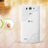 Kişiye Özel Lg G3 İnce Şeffaf Silikon Telefon Kapağı (Dantel Tema