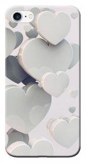 Iphone 6 6s Kılıf Silikon Baskılı Beyaz Kalpler Stk 259