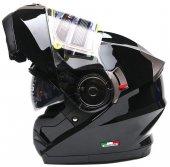 Sway 925 Parlak Siyah Motor Kaskı Ful Face Çene Açılır Çift Vizör