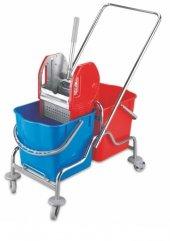 Ayaz 7351 Çift Kovalı Temizlik Arabası Krom Taşıyıcı Metal Rindo