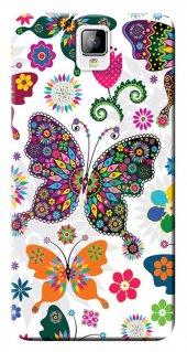 General Mobile Discovery 2 Kılıf Silikon Baskılı Renkli Kelebekle
