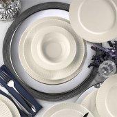 Kütahya Porselen Bone İron 48 Parça Yemek Seti Dekorsuz