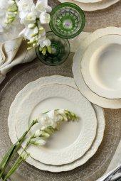 Kütahya Porselen Bone Başak 48 Parça Yemek Seti Mat Altın Fileli