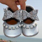 çıt Çıtlı Balerin Makosen Tabanlı Bebek Ayakkabı Gümüş Cv 488
