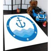 Mavi Gemi Çapalı Çocuk Odası Halısı