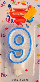 Dokuz 9 Yaş Erkek Çocuk Pasta Mumu Mavi Renk